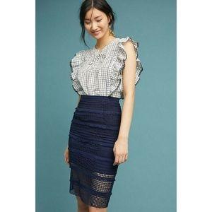 New Anthropologie Fringed Crochet Pencil Skirt